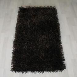 שטיח שאגי לסלון - צבע שחור
